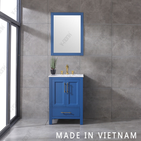 24inch Solid Wood Small Size Beautiful Blue Soft-Closing Bathroom Vanity