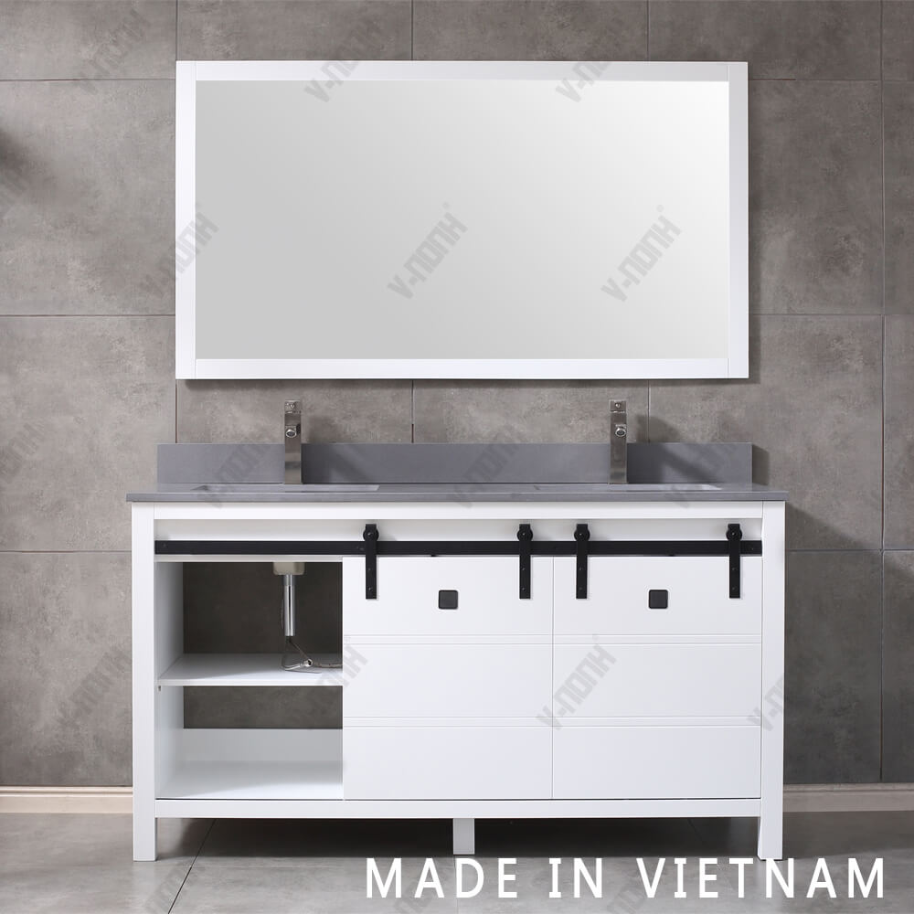 Solid Wood Cabinet 60 Inch White Color Double Sinks Bathroom Vanity With Carrara Marble Top